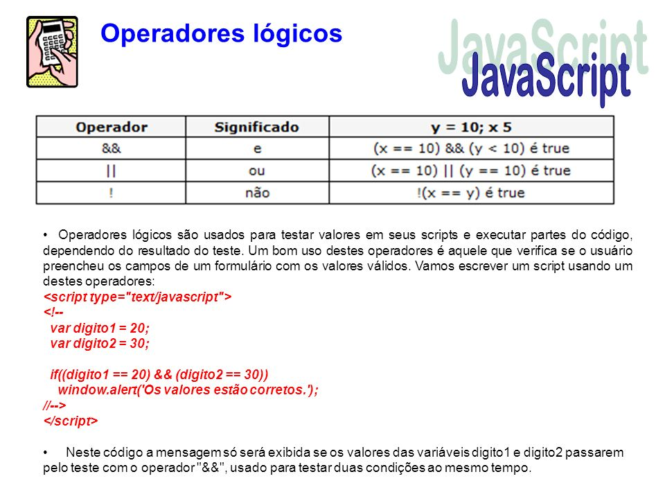 JavaScript Operadores lógicos