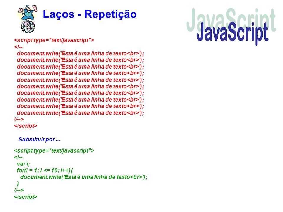 JavaScript Laços - Repetição