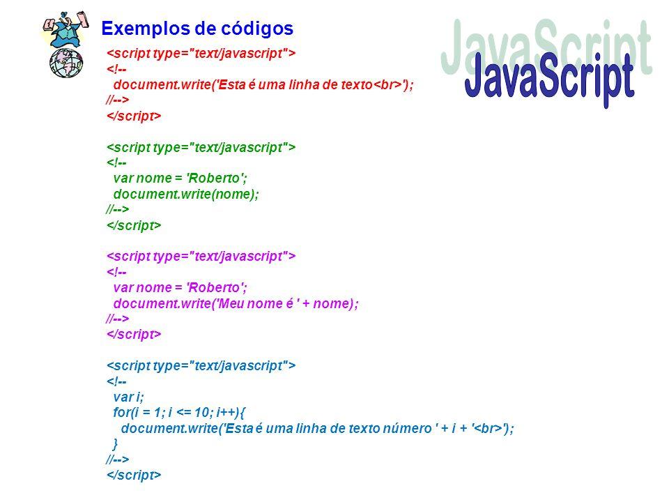 JavaScript Exemplos de códigos