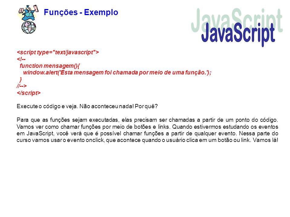 JavaScript Funções - Exemplo