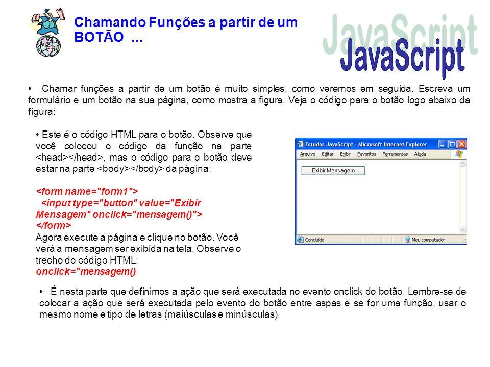 JavaScript Chamando Funções a partir de um BOTÃO ...