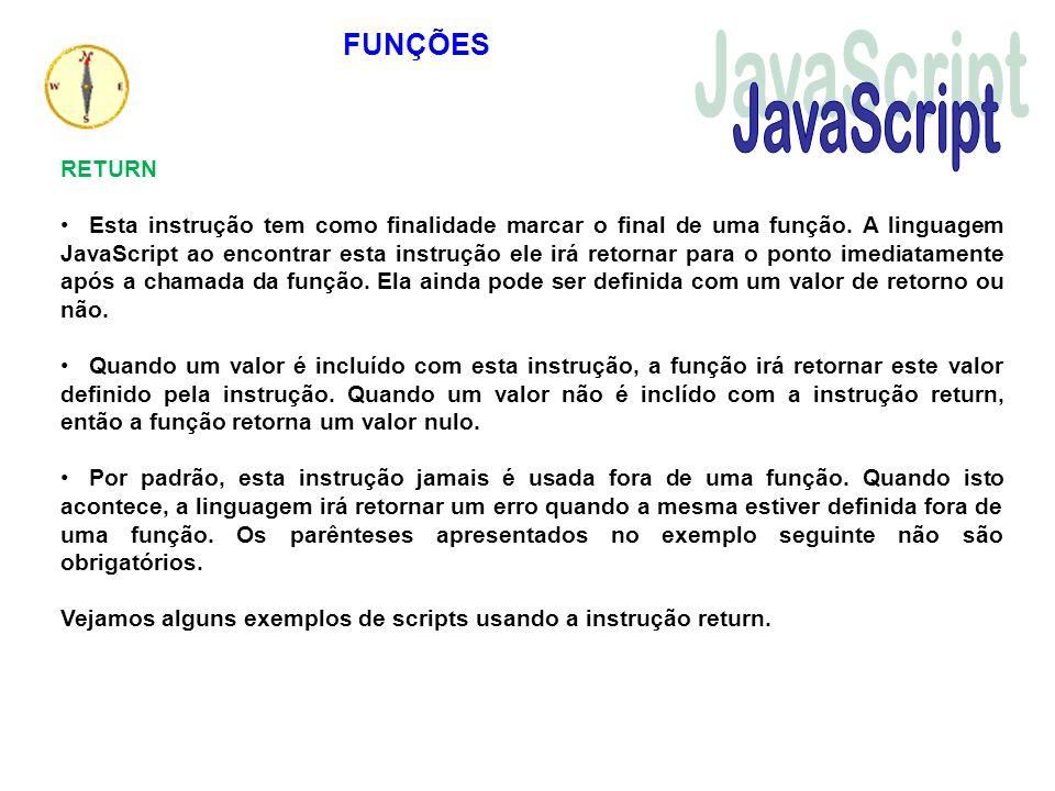 JavaScript FUNÇÕES RETURN