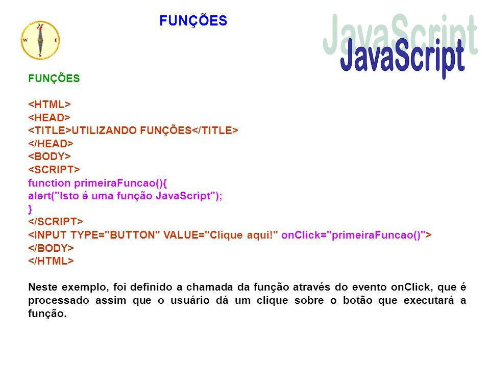 JavaScript FUNÇÕES FUNÇÕES <HTML> <HEAD>