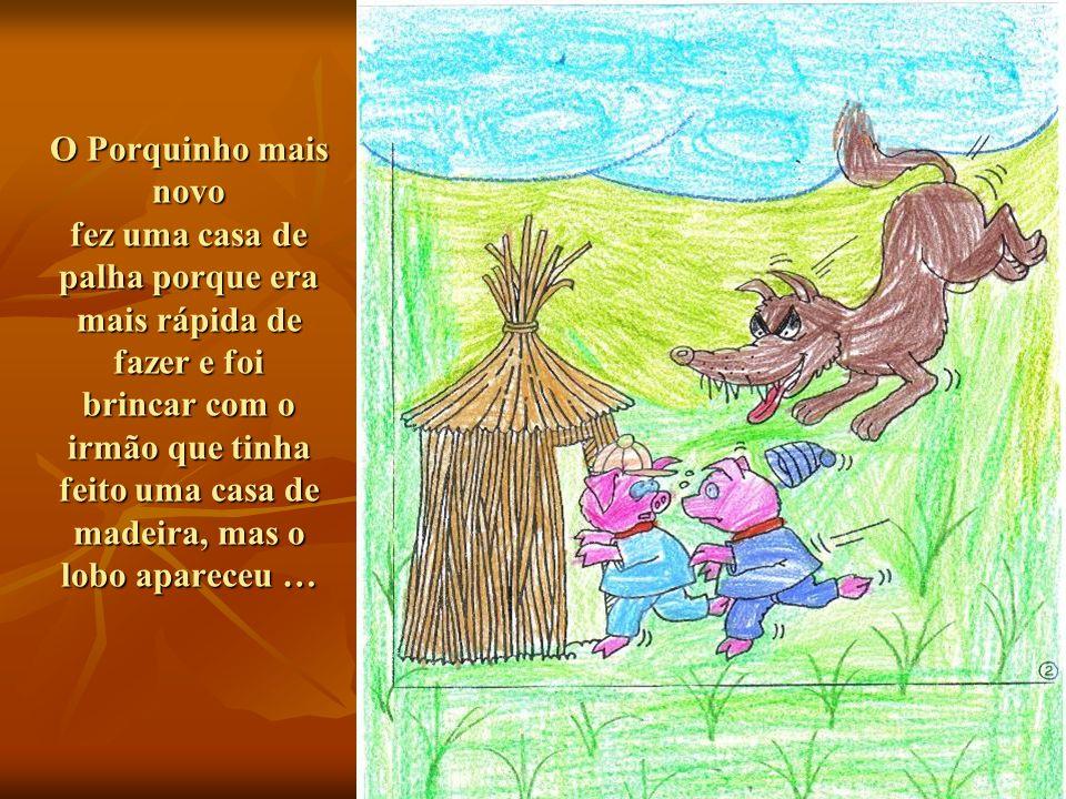 O Porquinho mais novo fez uma casa de palha porque era mais rápida de fazer e foi brincar com o irmão que tinha feito uma casa de madeira, mas o lobo apareceu …