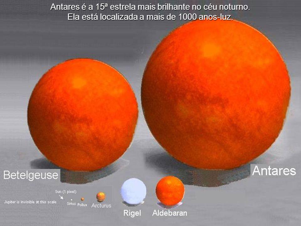 Antares é a 15ª estrela mais brilhante no céu noturno.