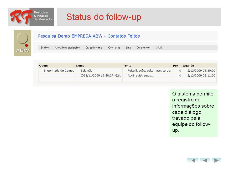Status do follow-up O sistema permite o registro de informações sobre cada diálogo travado pela equipe do follow- up.
