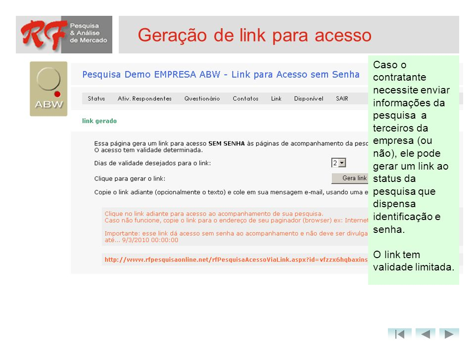 Geração de link para acesso