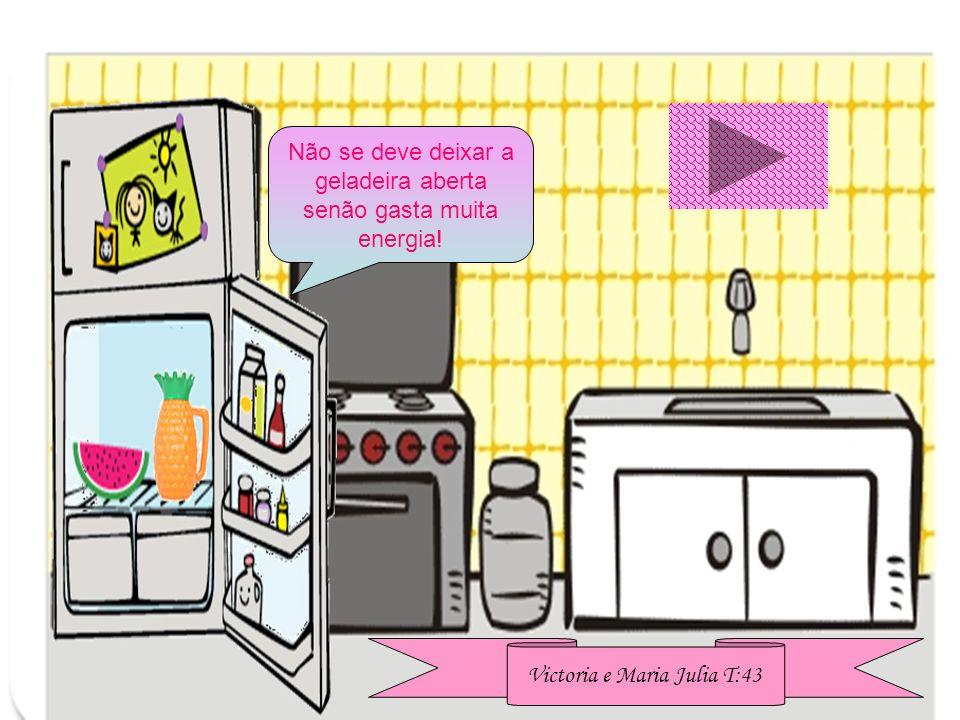 Não se deve deixar a geladeira aberta senão gasta muita energia!