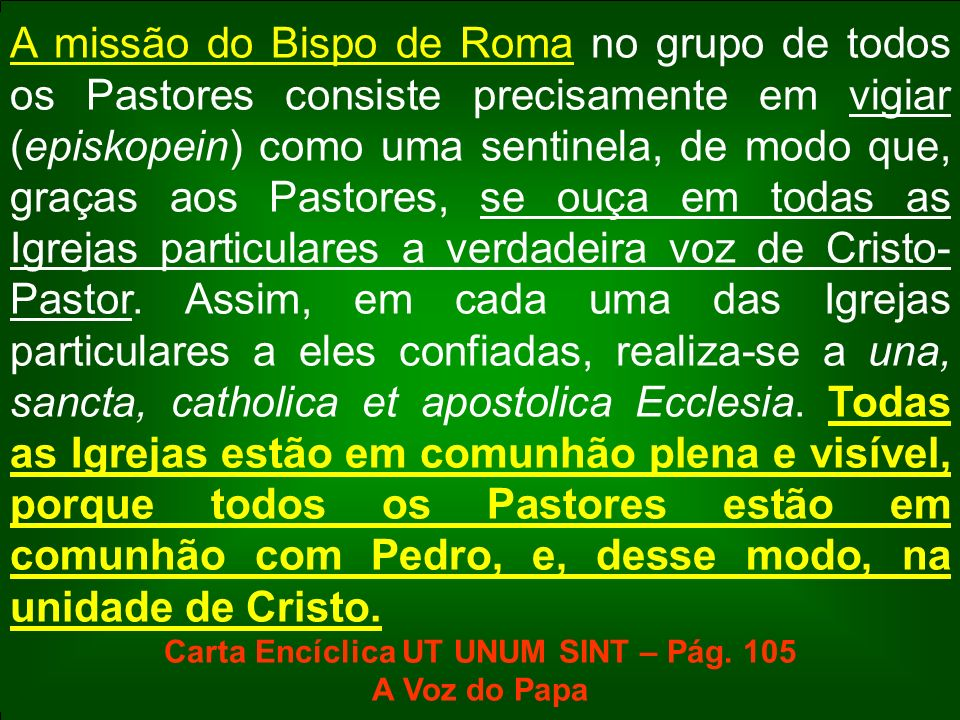 Carta Encíclica UT UNUM SINT – Pág. 105