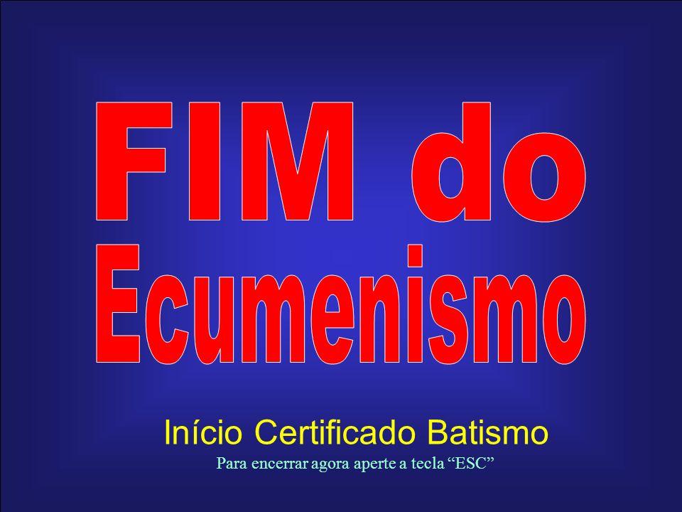 Início Certificado Batismo