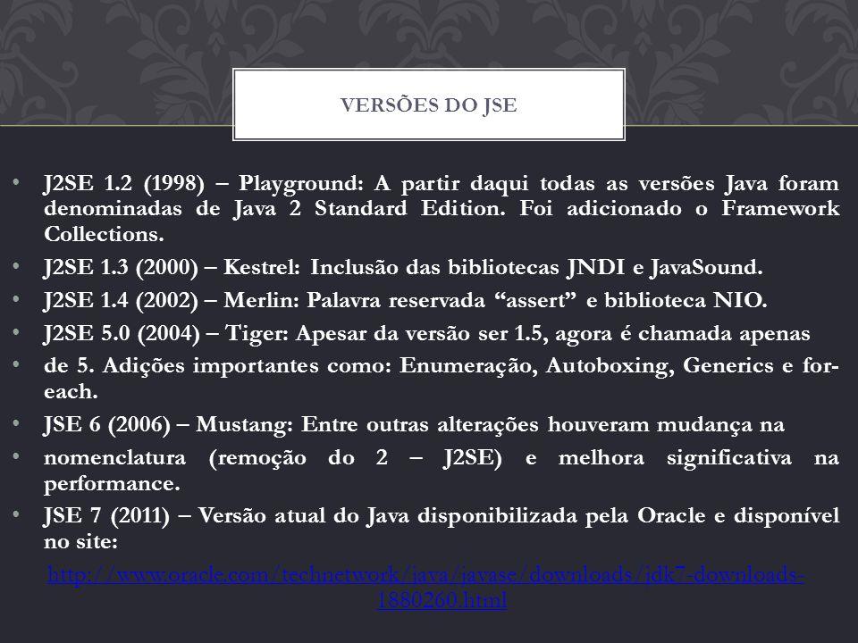 J2SE 1.3 (2000) – Kestrel: Inclusão das bibliotecas JNDI e JavaSound.