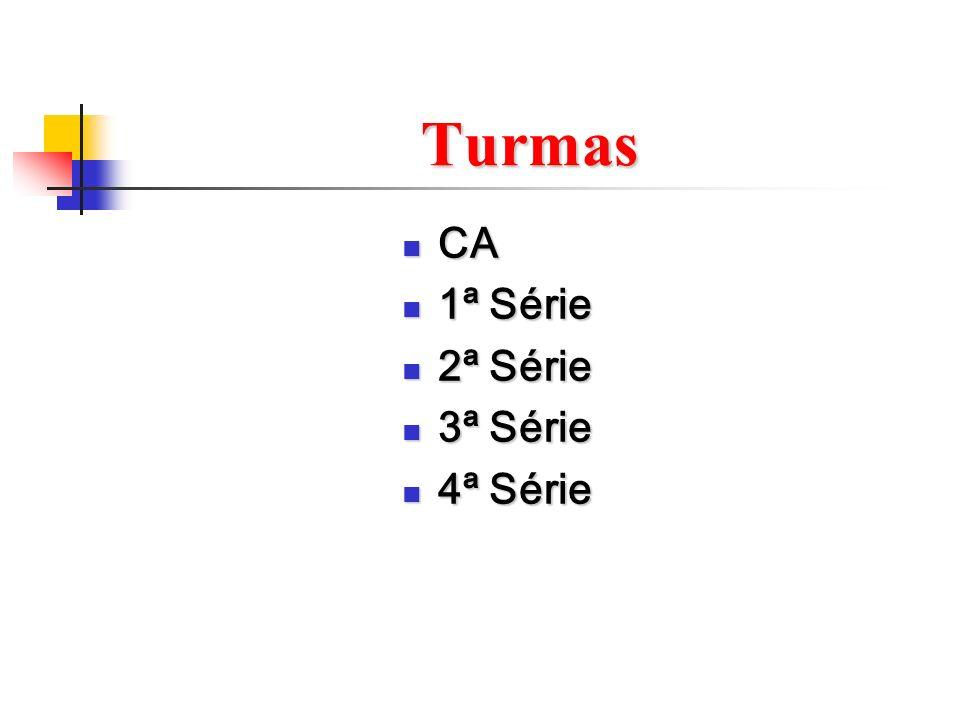 Turmas CA 1ª Série 2ª Série 3ª Série 4ª Série
