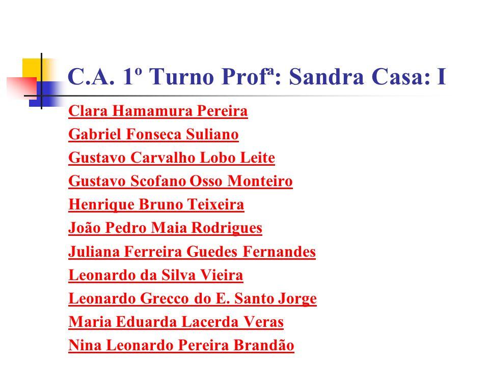 C.A. 1º Turno Profª: Sandra Casa: I