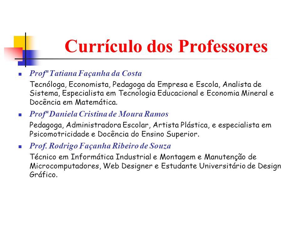 Currículo dos Professores