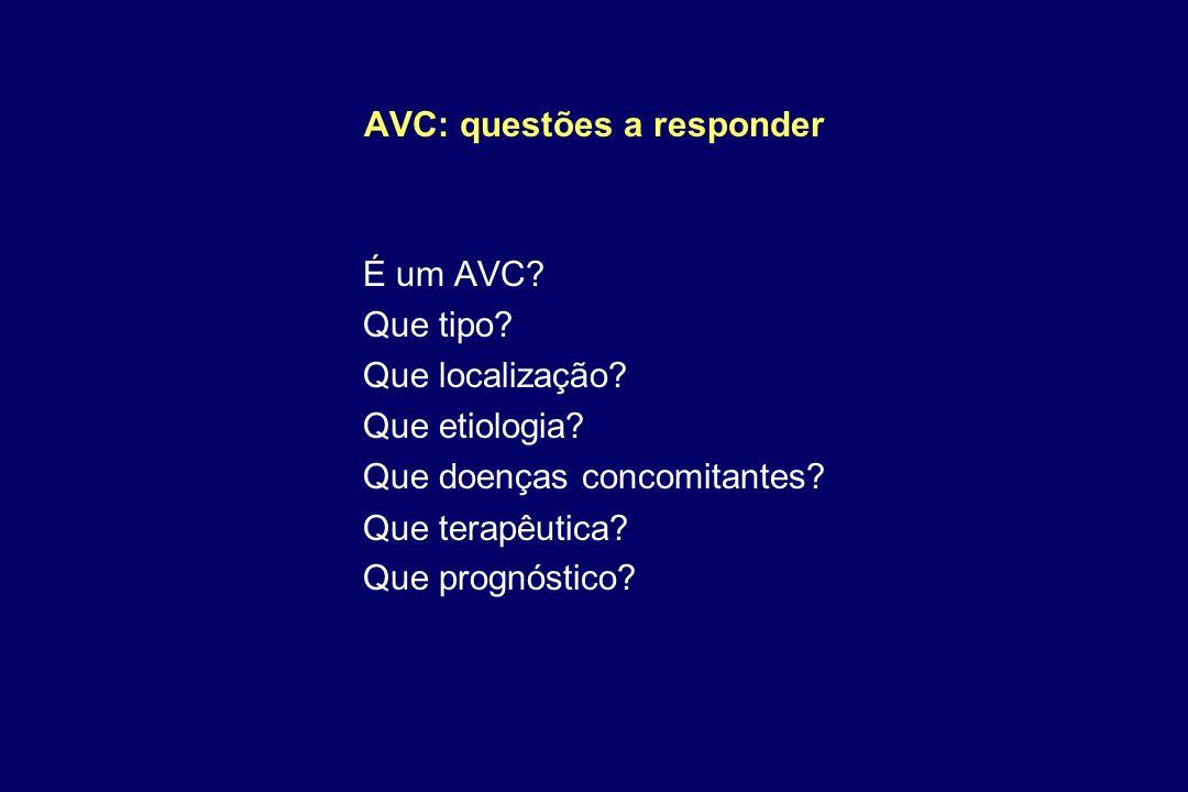 AVC: questões a responder