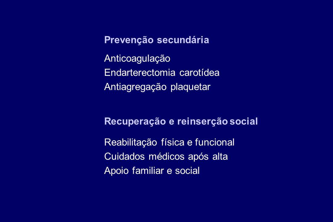 Prevenção secundária Anticoagulação. Endarterectomia carotídea. Antiagregação plaquetar. Recuperação e reinserção social.