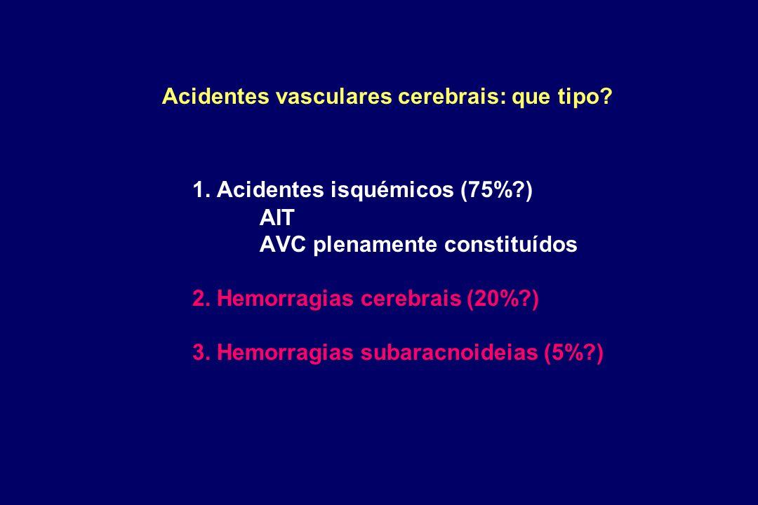 Acidentes vasculares cerebrais: que tipo. 1. Acidentes isquémicos (75%