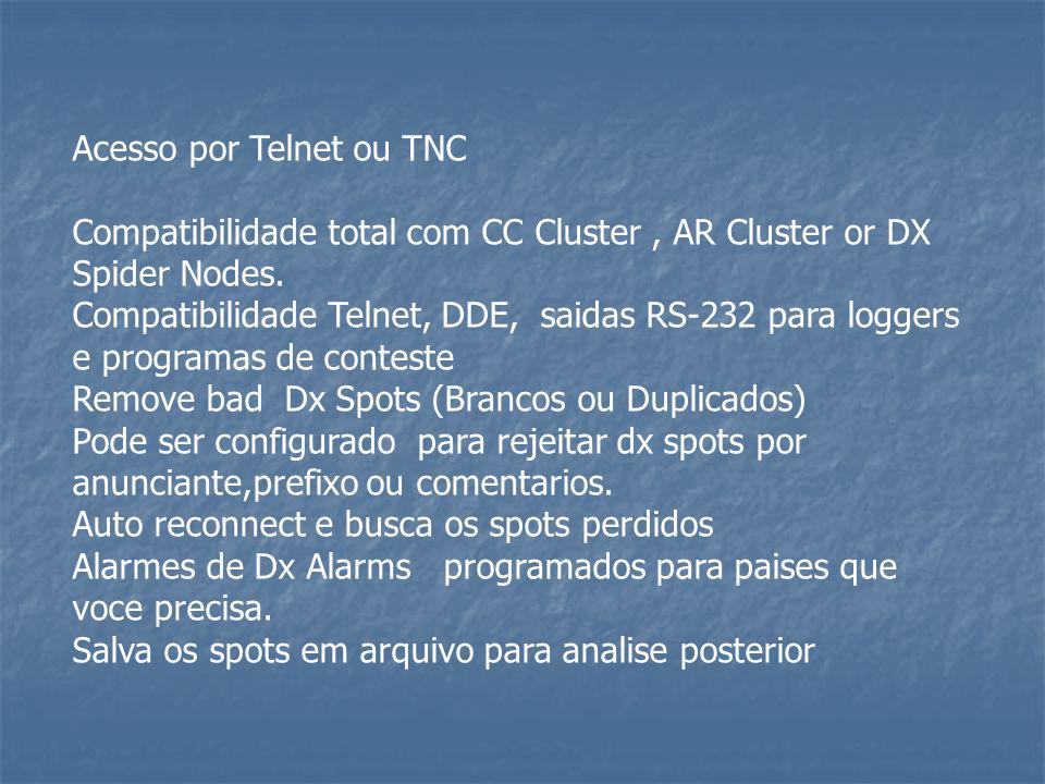 Acesso por Telnet ou TNC