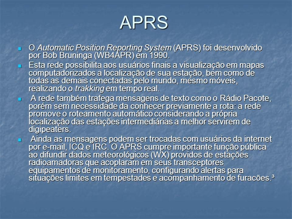 APRS O Automatic Position Reporting System (APRS) foi desenvolvido por Bob Bruninga (WB4APR) em 1990.
