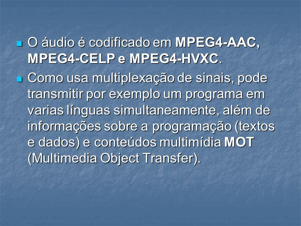 O áudio é codificado em MPEG4-AAC, MPEG4-CELP e MPEG4-HVXC.