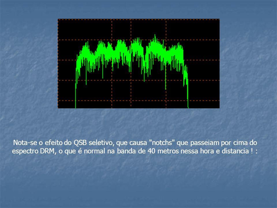 Nota-se o efeito do QSB seletivo, que causa notchs que passeiam por cima do espectro DRM, o que é normal na banda de 40 metros nessa hora e distancia .