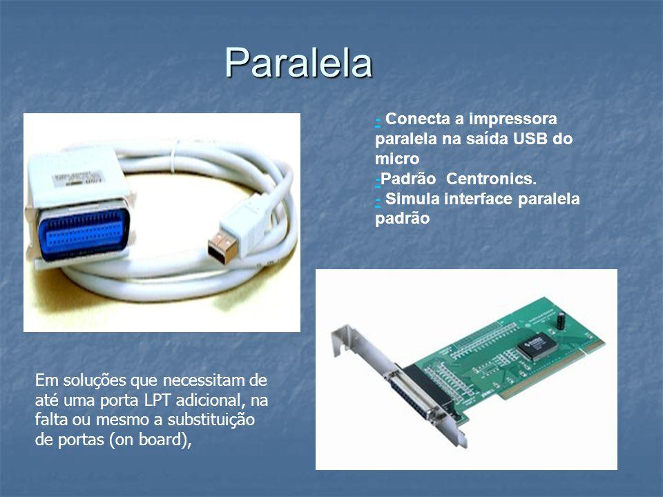 Paralela - Conecta a impressora paralela na saída USB do micro -Padrão Centronics. - Simula interface paralela padrão.