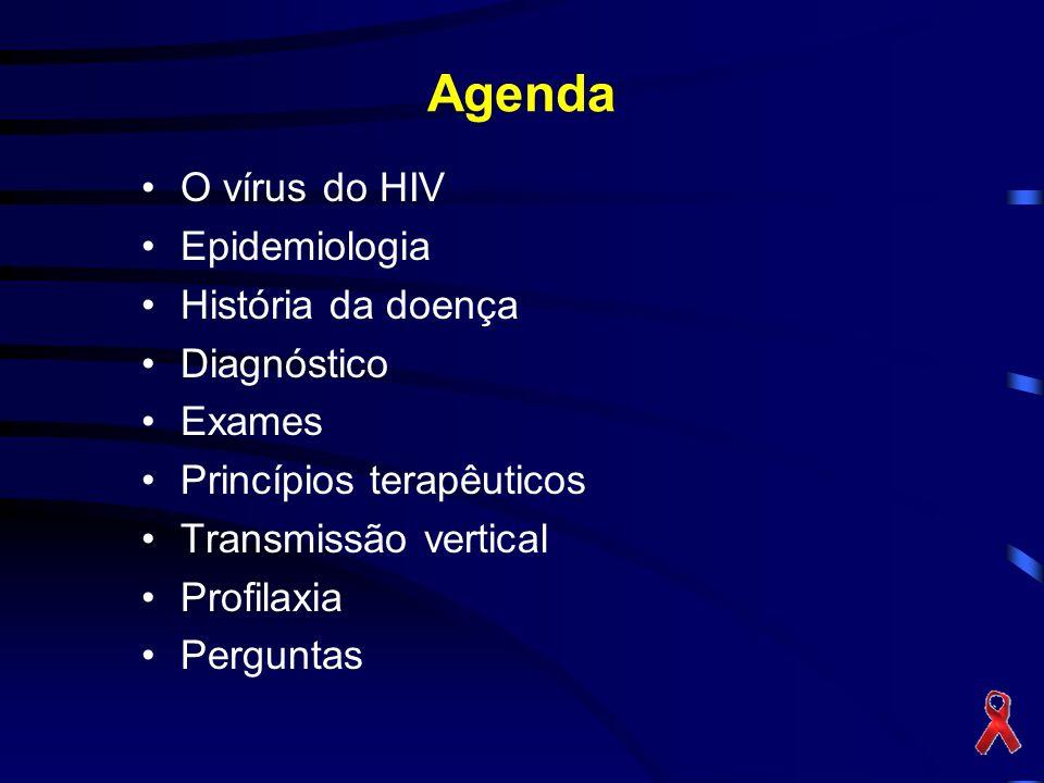 Agenda O vírus do HIV Epidemiologia História da doença Diagnóstico