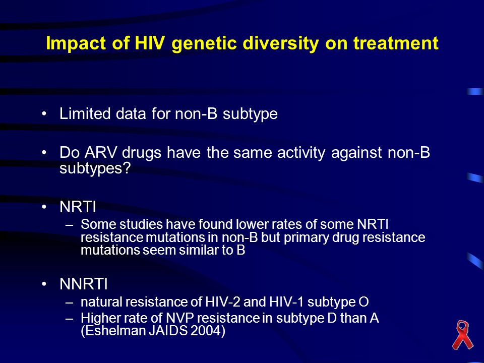 Impact of HIV genetic diversity on treatment