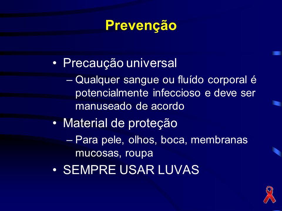 Prevenção Precaução universal Material de proteção SEMPRE USAR LUVAS