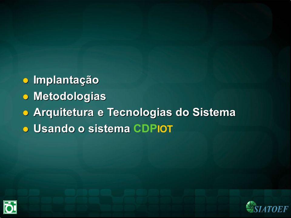 Arquitetura e Tecnologias do Sistema Usando o sistema CDPIOT
