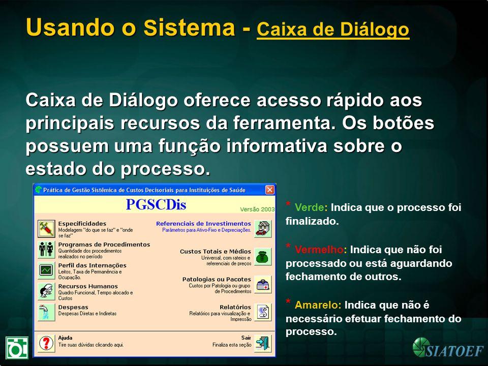 Usando o Sistema - Caixa de Diálogo