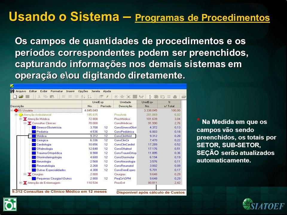 Usando o Sistema – Programas de Procedimentos
