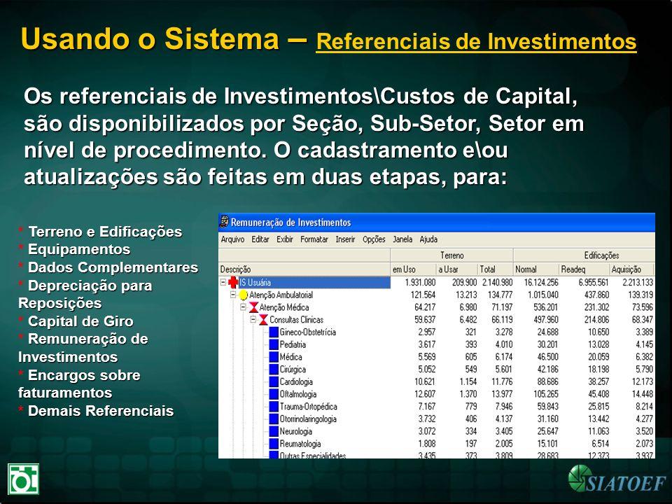Usando o Sistema – Referenciais de Investimentos