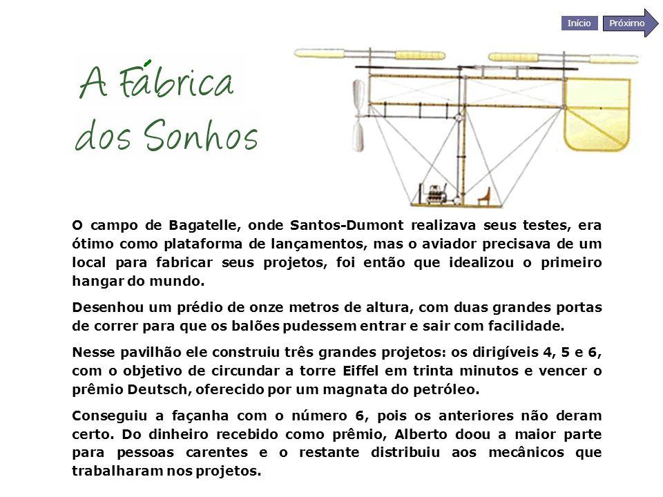 O campo de Bagatelle, onde Santos-Dumont realizava seus testes, era ótimo como plataforma de lançamentos, mas o aviador precisava de um local para fabricar seus projetos, foi então que idealizou o primeiro hangar do mundo.