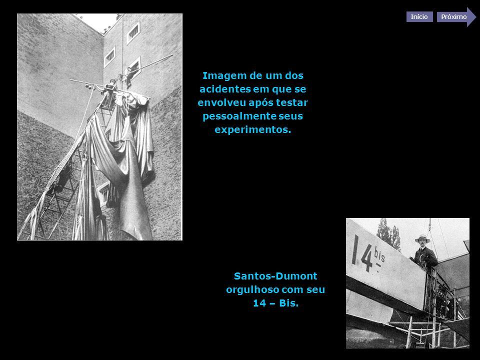 Santos-Dumont orgulhoso com seu 14 – Bis.