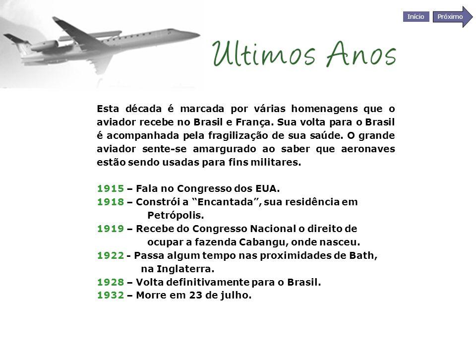 Esta década é marcada por várias homenagens que o aviador recebe no Brasil e França. Sua volta para o Brasil é acompanhada pela fragilização de sua saúde. O grande aviador sente-se amargurado ao saber que aeronaves estão sendo usadas para fins militares.