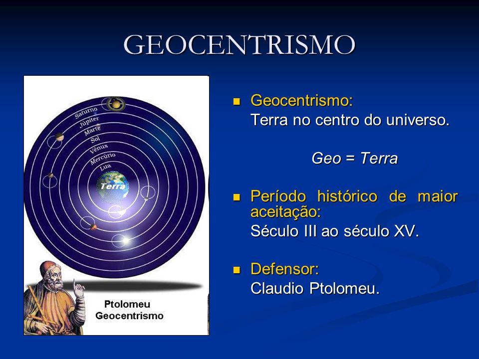 GEOCENTRISMO Geocentrismo: Terra no centro do universo. Geo = Terra