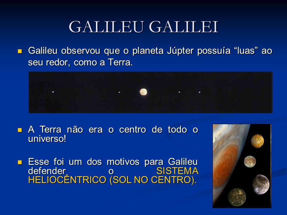 GALILEU GALILEI Galileu observou que o planeta Júpter possuía luas ao seu redor, como a Terra. A Terra não era o centro de todo o universo!