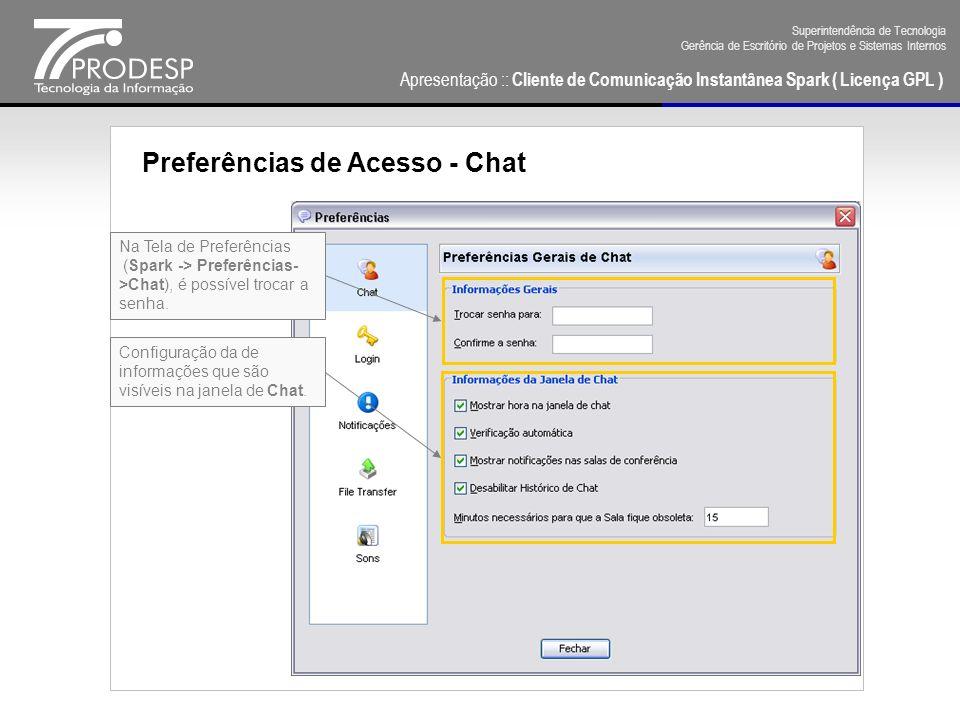 Preferências de Acesso - Chat