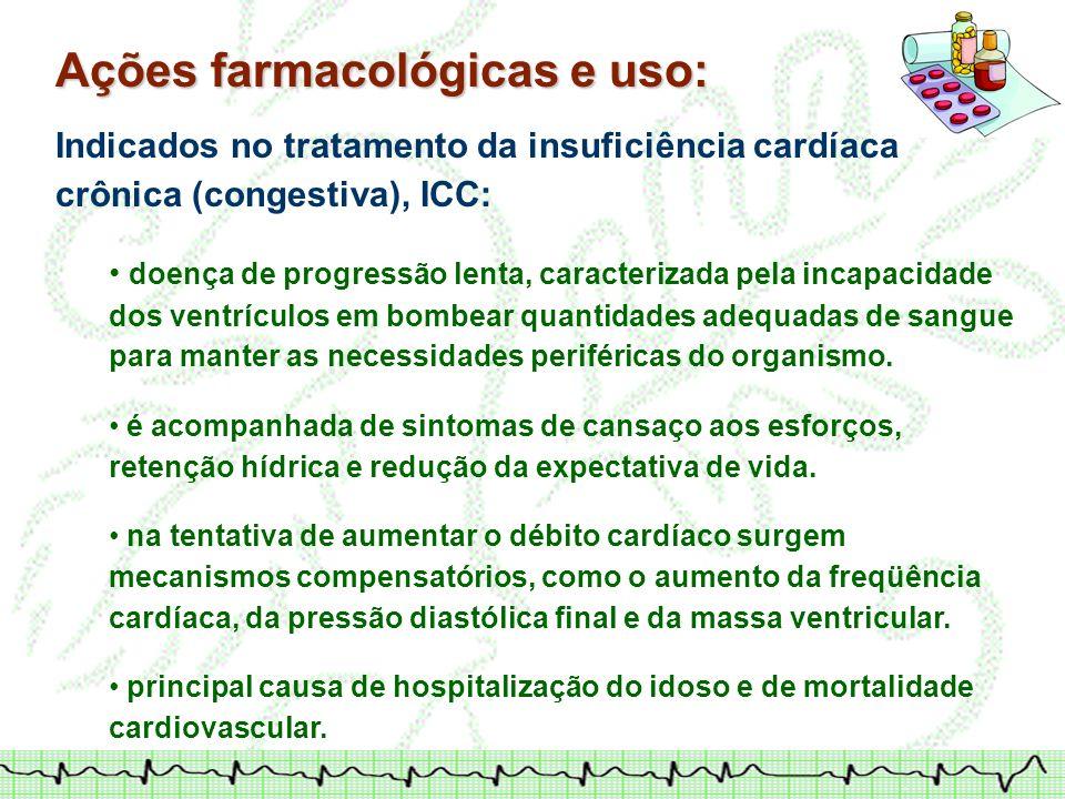 Ações farmacológicas e uso:
