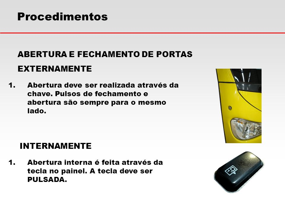 Procedimentos ABERTURA E FECHAMENTO DE PORTAS EXTERNAMENTE