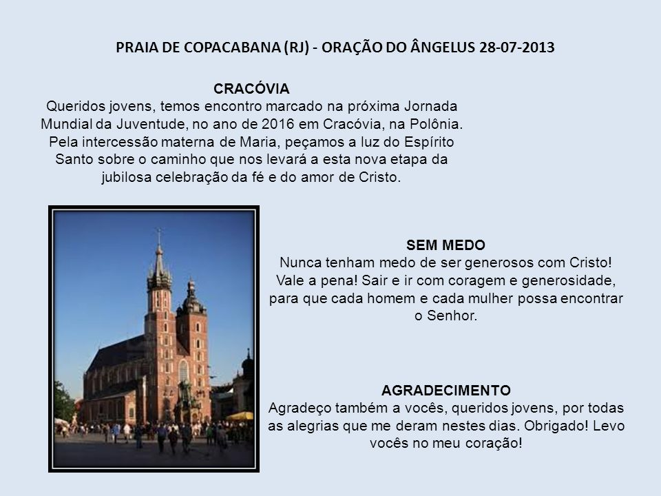 Praia de Copacabana (RJ) - Oração do Ângelus 28-07-2013