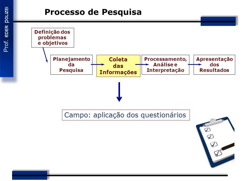 Processo de Pesquisa Campo: aplicação dos questionários Coleta das