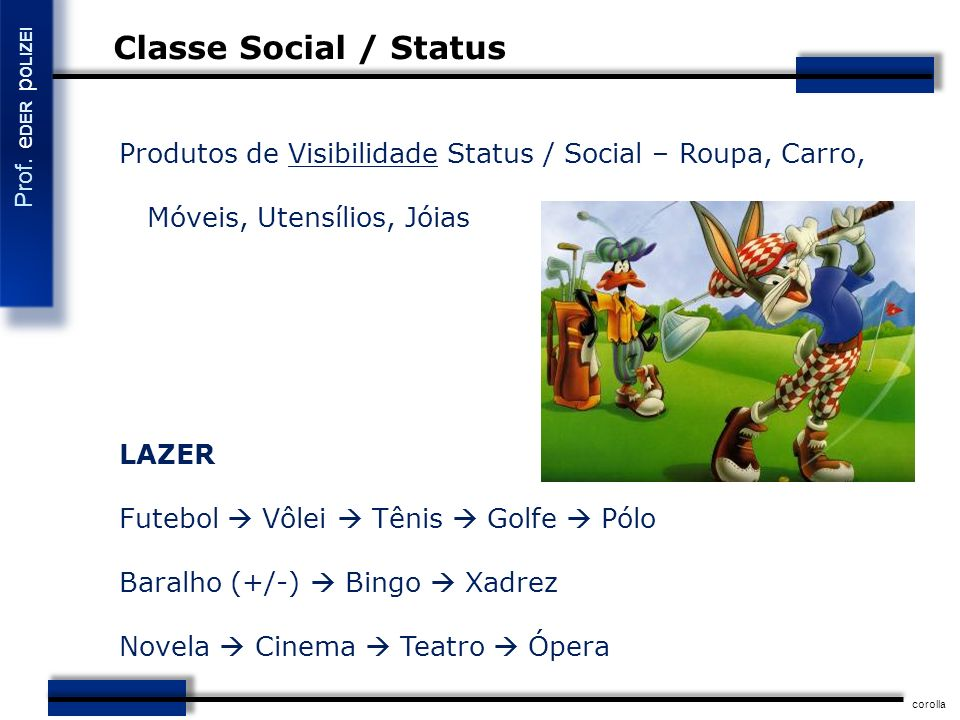 Classe Social / Status Produtos de Visibilidade Status / Social – Roupa, Carro, Móveis, Utensílios, Jóias.