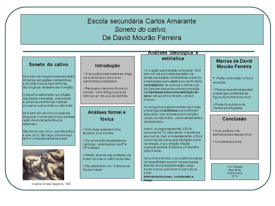 Análises ideológica e estilística Marcas de David Mourão Ferreira