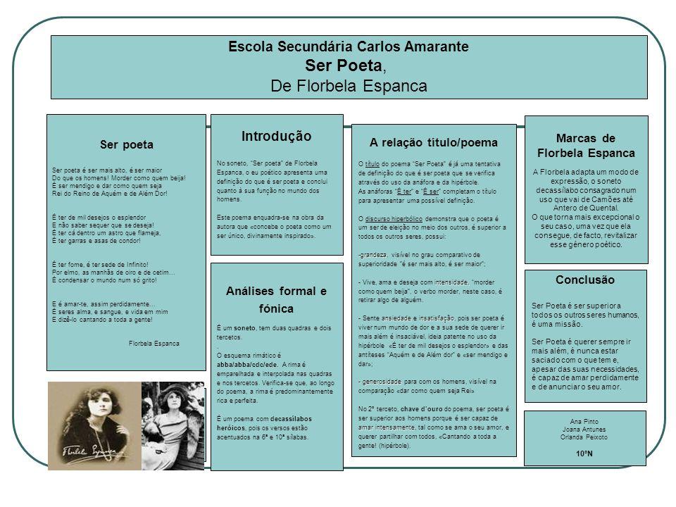Escola Secundária Carlos Amarante Marcas de Florbela Espanca