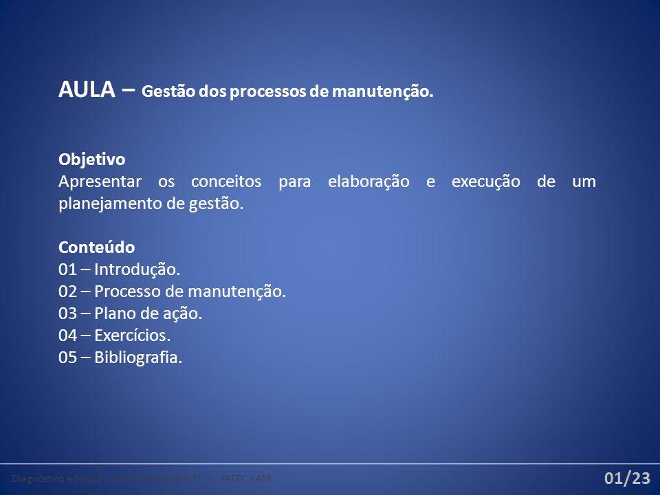 AULA – Gestão dos processos de manutenção.