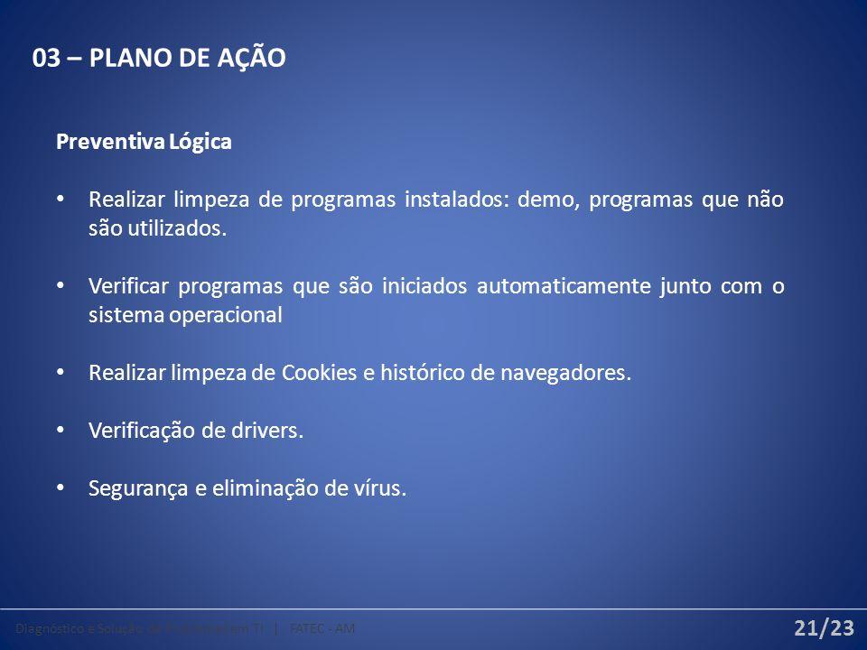 03 – PLANO DE AÇÃO Preventiva Lógica