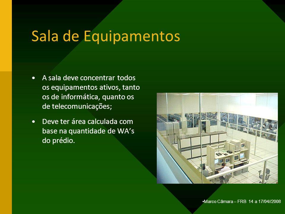 Sala de Equipamentos A sala deve concentrar todos os equipamentos ativos, tanto os de informática, quanto os de telecomunicações;
