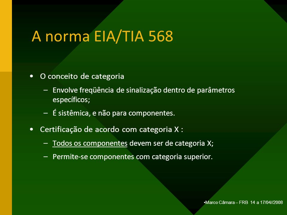 A norma EIA/TIA 568 O conceito de categoria